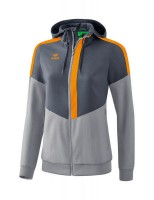 Erima Squad Tracktop Jacke mit Kapuze grey-new orange Damen